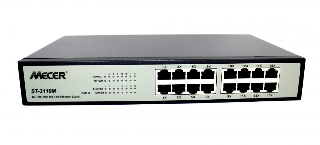 Mecer 16 Port 10/100TX Ethernet Switch Hub W/Rackmount Kit